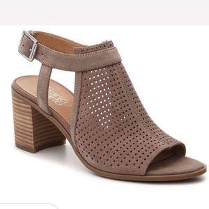 Franco Sarto 'Harlet' taupe peep toe heeled sandal